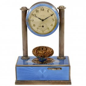 Fine Silver-gilt And Enamel Art-deco Singing Bird Alarm