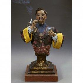 """Rare """"buste Japonais"""" Musical Smoking Automaton By"""