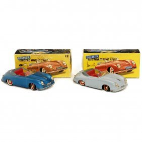 "2 ""distler Porsche"" Tin Toy Cars, C. 1955"