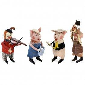 4 Schuco Clockwork Dancing Figures