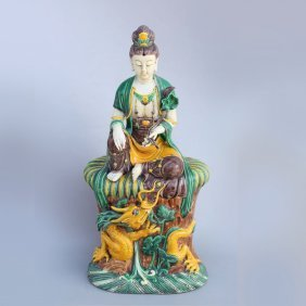 Qing Dynasty Chinese Tri-color Porcelain Guanyin