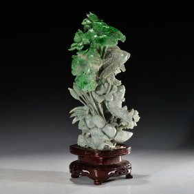 Chinese Apple Green Jadeite Carving; H: 9 3/4 In