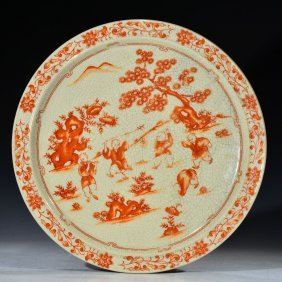 Chinese Red Glazed Pattern Plate