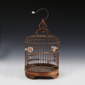 A Bird Cage Made Of Banboo Wire ( With Two Jars For