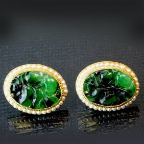 A Pair Of Chinese Jadeite Earring Ring