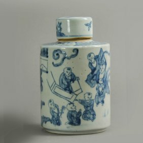 19th C. Chinese Blue And White Jar With Lid.