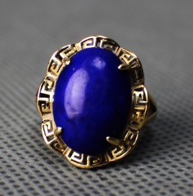 A Lapis 18k Gold Ring