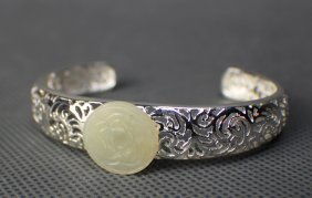 A Silver Carving Bracelet With A Jade Flower Decoration