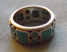 A Turquoise Silver Ring From Indian Famous Craftsman