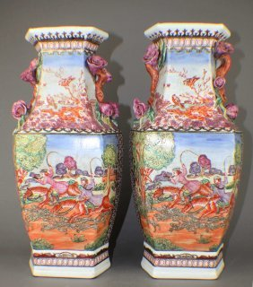 A Pair Of Export Porcelain Vases In Hunting Pattern Of