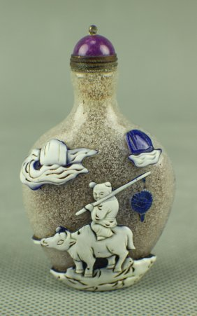 A Glass Snuffbottle Carved In Cows And Child