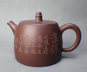 Yixing Teapot With A Poem Carving