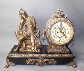 A Statue Romanesque Copper Clock