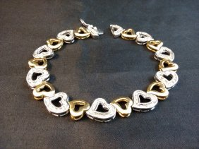 Sterling Silver Heart With Gold Overlay Bracelet