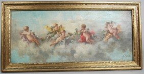 LUTZENS, PAIR OF O/C OF CHERUBS IN CLOUDS, Gilt Mol