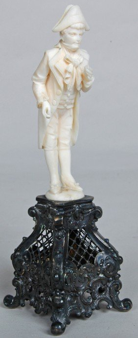 CONTINENTAL CARVED IVORY FIGURE ON FANCY ROCOCO ST
