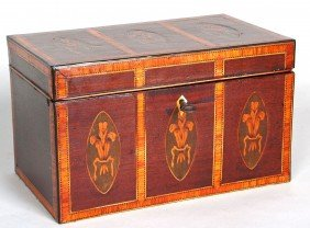 FEDERAL MAHOGANY SATINWOOD TEA CADDY With Six Oval