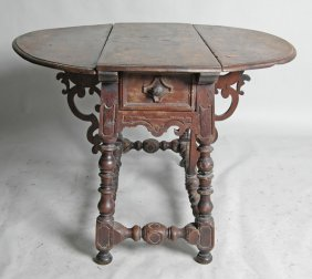 LATE 17TH C. FLEMMISH DROP LEAF DINING TABLE
