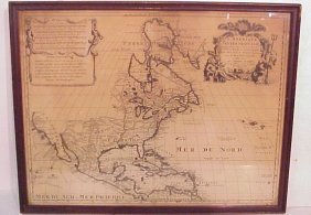 "1708 Map Of North America By Pierre Schenk, 18"" X"