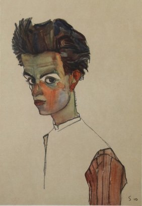 Selfportrait With Strip Shirt -e Schiele