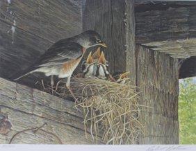 Robins At The Nest By Robert Bateman