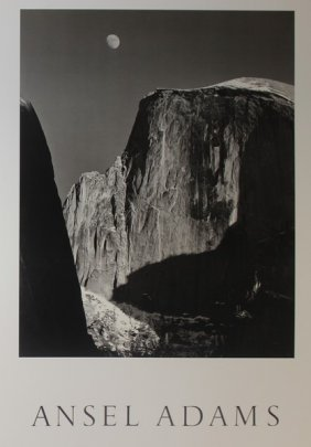 Moon And Half-dome By Ansel Adams