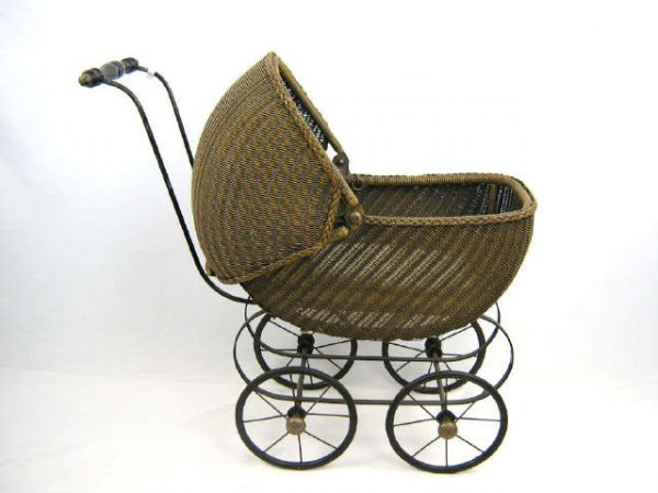 Antique Wicker Doll Stroller Carriage Lot 41251