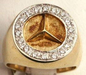 mens 14k gold mercedes benz ring 1 2 ct diamonds lot 53344. Black Bedroom Furniture Sets. Home Design Ideas
