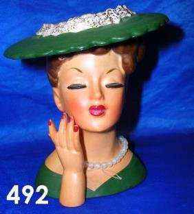492 Vintage Head Vase Lady Napco 1958 C3343c Lot 492