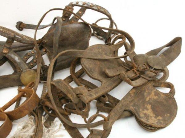 Lot Antique Horse Leather Harness Bridles Amp Lasso Lot 94261a