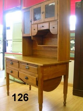 70126 Antique Possum Belly Bakers Cabinet Oak 1900 Lot