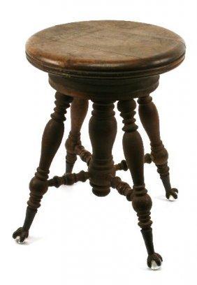 Antique Claw Foot Oak Adjustable Piano Stool Lot 10124