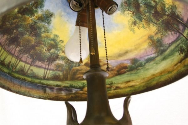 Jefferson Reverse Painted Lamp Shade Pairpoint Base Lot
