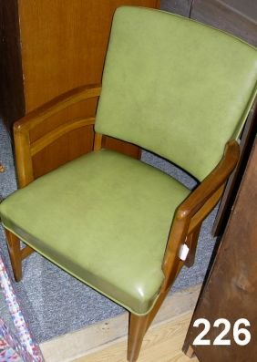 90226 Vintage Office Chair Green Vinyl Wood Arms 1950s