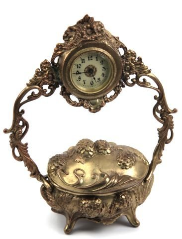 Lux novelty art nouveau clock with jewelry box lot 3027a for Jewelry repair san rafael