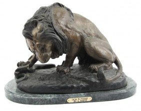 """""""LION W/ SNAKE"""" BY A. BARYE- BRONZE ON MARBLE BASE"""