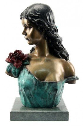AUGUSTIN MOREAU BRONZE BUST OF A YOUNG WOMAN