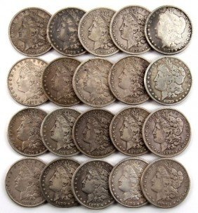 20 COIN ROLL OF 1878CC MORGAN SILVER DOLLARS