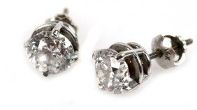 LADIES 14K WHITE GOLD DIAMOND EARRINGS 1.97 CTW