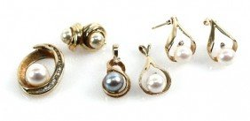 DEALERS LOT OF 14K GOLD PEARL & DIAMOND JEWELRY