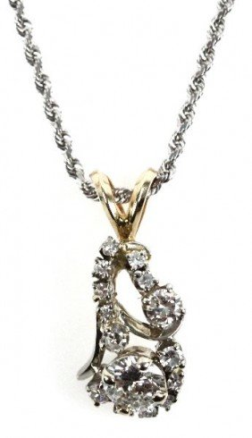 LADIES 14K NECKLACE WITH DIAMOND PENDANT 1.22 CTW