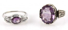 LOT OF TWO LADIES 14K GOLD ESTATE AMETHYST RINGS