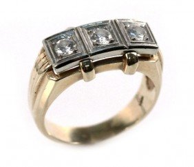 MENS VINTAGE 14K GOLD AND DIAMOND RING