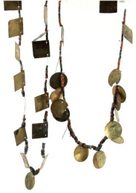 PRECOLUMBIAN GOLD TUMBAGO AND BEADED NECKLACE