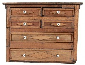 UNIQUE 19TH CENTURY TRAMP ART APOTHECARY CHEST