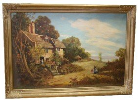 LARGE FRAMED OIL ON CANVAS COUNTRY SCENE
