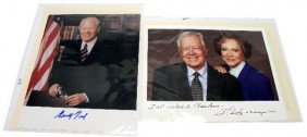 TWO USA PRESIDENT PHOTOS WITH SIGNATURE AND COA