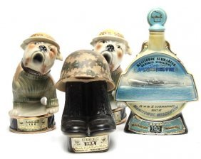 LOT OF 4 JIM BEAN WHISKEY MILITARY DECANTERS