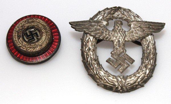 WWII GERMAN POLICE HAT INSIGNIA & COCKADE : Lot 7449