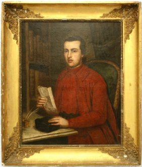 18TH CENTURY PORTRIAT OF JESUIT PRIST IN STUDY